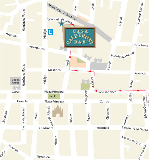 Map for Casa Calderoni, bed and breakfast near city center of San Miguel